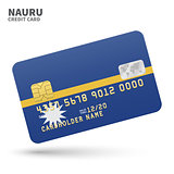 Credit card with Nauru flag background for bank, presentations and business. Isolated on white