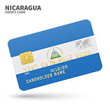 Credit card with Nicaragua flag background for bank, presentations and business. Isolated on white