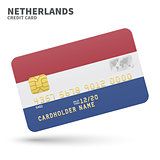 Credit card with Netherlands flag background for bank, presentations and business. Isolated on white
