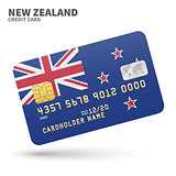 Credit card with New Zealand flag background for bank, presentations and business. Isolated on white