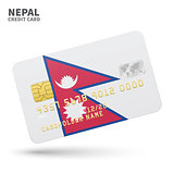 Credit card with Nepal flag background for bank, presentations and business. Isolated on white