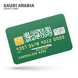 Credit card with Saudi Arabia flag background for bank, presentations and business. Isolated on white