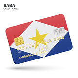 Credit card with Saba flag background for bank, presentations and business. Isolated on white