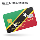 Credit card with Saint Kitts and Nevis flag background for bank, presentations, business. Isolated on white