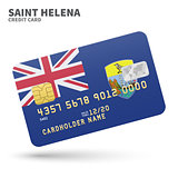 Credit card with Saint Helena flag background for bank, presentations and business. Isolated on white
