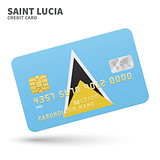Credit card with Saint Lucia flag background for bank, presentations and business. Isolated on white