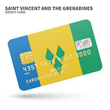 Credit card with Saint Vincent and the Grenadines flag background for bank, presentations, business. Isolated on white
