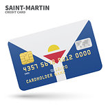 Credit card with Saint-Martin flag background for bank, presentations and business. Isolated on white