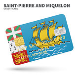 Credit card with Saint-Pierre and Miquelon flag background for bank, presentations, business. Isolated on white