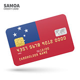 Credit card with Samoa flag background for bank, presentations and business. Isolated on white