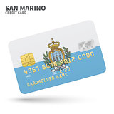 Credit card with San Marino flag background for bank, presentations and business. Isolated on white