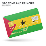 Credit card with Sao Tome and Principe flag background for bank, presentations, business. Isolated on white