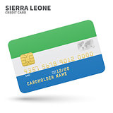 Credit card with Sierra Leone flag background for bank, presentations and business. Isolated on white