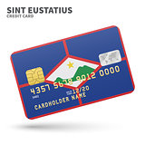 Credit card with Sint Eustatius flag background for bank, presentations and business. Isolated on white