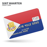 Credit card with Sint Maarten flag background for bank, presentations and business. Isolated on white