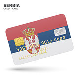 Credit card with Serbia flag background for bank, presentations and business. Isolated on white