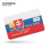 Credit card with Slovakia flag background for bank, presentations and business. Isolated on white