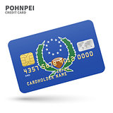 Credit card with Pohnpei flag background for bank, presentations and business. Isolated on white