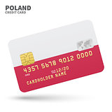 Credit card with Poland flag background for bank, presentations and business. Isolated on white
