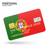 Credit card with Portugal flag background for bank, presentations and business. Isolated on white
