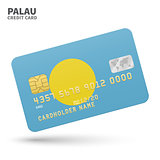 Credit card with Palau flag background for bank, presentations and business. Isolated on white