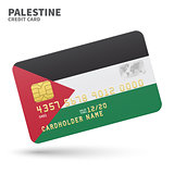 Credit card with Palestine flag background for bank, presentations and business. Isolated on white