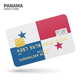 Credit card with Panama flag background for bank, presentations and business. Isolated on white