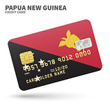 Credit card with Papua New Guinea flag background for bank, presentations and business. Isolated on white