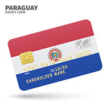 Credit card with Paraguay flag background for bank, presentations and business. Isolated on white