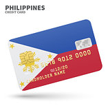 Credit card with Philippines flag background for bank, presentations and business. Isolated on white