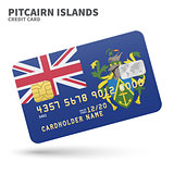Credit card with Pitcairn Islands flag background for bank, presentations and business. Isolated on white