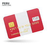 Credit card with Peru flag background for bank, presentations and business. Isolated on white