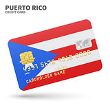 Credit card with Puerto Rico flag background for bank, presentations and business. Isolated on white