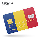 Credit card with Romania flag background for bank, presentations and business. Isolated on white
