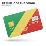 Credit card with Republic of the Congo flag background for bank, presentations and business. Isolated on white