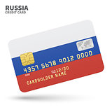 Credit card with Russia flag background for bank, presentations and business. Isolated on white