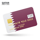 Credit card with Qatar flag background for bank, presentations and business. Isolated on white
