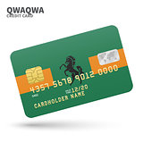 Credit card with QwaQwa flag background for bank, presentations and business. Isolated on white