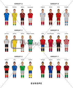 Football, Soccer team. Player flat style illustration.