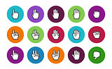 Pixel cursors circle icons mouse hands.