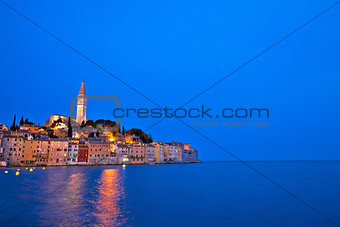 Town of Rovinj evening view with copyspace