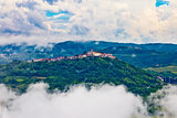Motovun town in clouds view