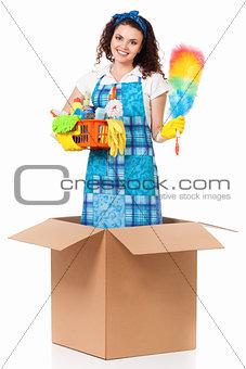 Housewife in cardboard box