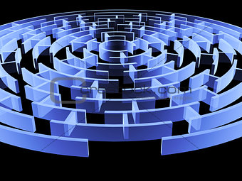 Circular 3d maze of blue color
