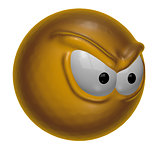 angry looking smiley on white background - 3d rendering