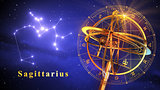 Armillary Sphere And Constellation Sagittarius Over Blue Background