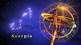 Armillary Sphere And Constellation Scorpio Over Blue Background