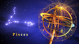 Armillary Sphere And Constellation Pisces Over Blue Background