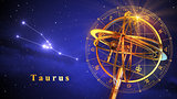 Armillary Sphere And Constellation Taurus Over Blue Background