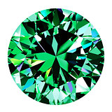 Emerald Round Over White Background